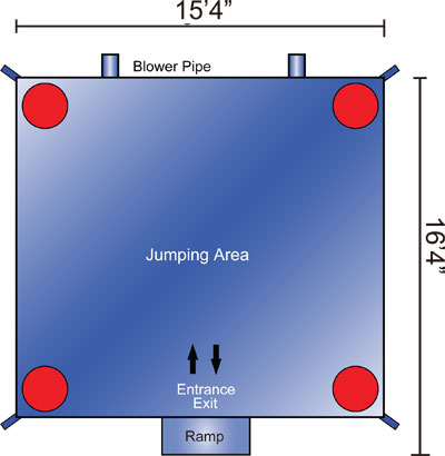 large bouncy castle dimensions