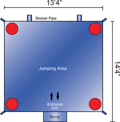 Blue Dog Bounce House Dimensions - Astro Jump
