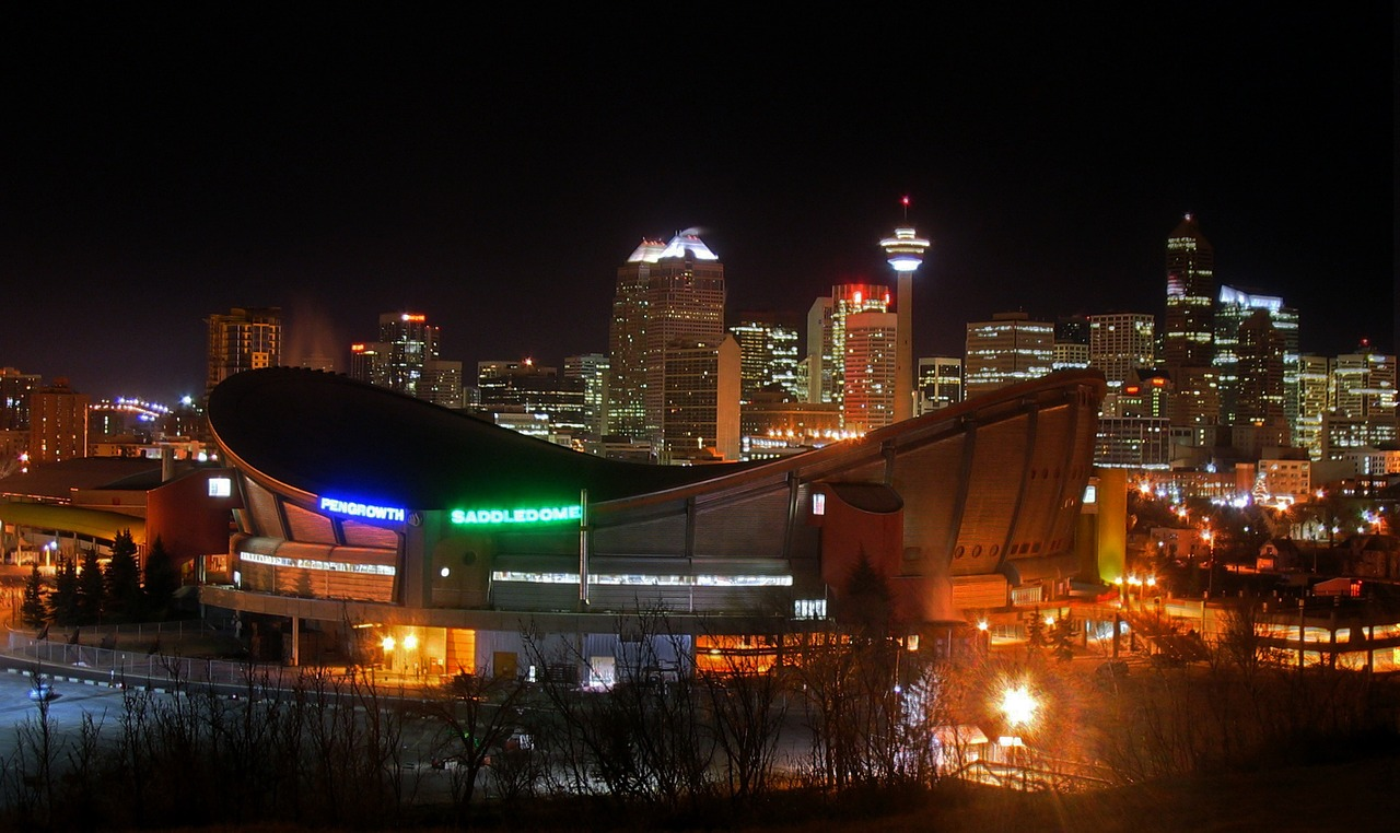 Calgary, skyline, night time